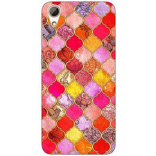 Jugaaduu Red Moroccan Tiles Pattern Back Cover Case For HTC Desire 728 Dual Sim - J980289