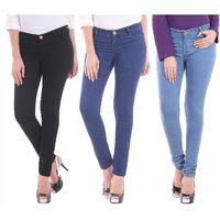 Mynte Combo Of 3 Skinny Fit Premium Ladies Jeans  (MEWJ-CMB3-Huacatay-Celery-Ricola)