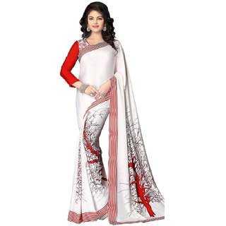 White  Red Italian Crepe Silk Saree with Blouse Piece