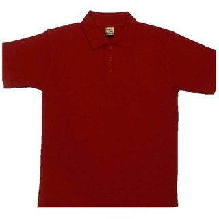 Cotton Half Sleeves Mens T-Shirt (Dark Red)