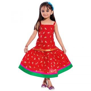 Decot Paradise Girls Red Printed Lehenga Choli