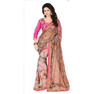 Khushali Presents Embroidered Georgette  Rasel Jacquard Half  Half Saree(Multi,Peach)