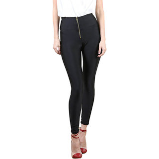 Jaune Zipper High Waist Black Leggings
