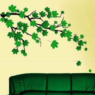 Wall Sticker -Green Autumn Leaves Branch@ New Way Decals(7505)