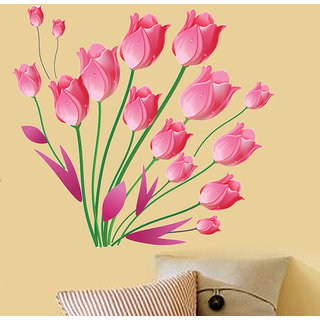 Newway floral pink tulips bouquet pvc wall sticker (7509)