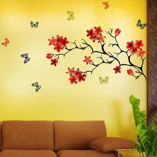 New Way Pvc Wall Stickers- Chinese Flower With Butterfly (7511) Multicolor No.Of Pieces 1