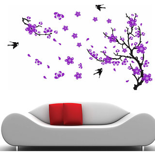 Wall Stickers- Black Branch With Purple Flower @ New Way Decals (7515)