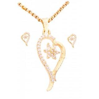 JNB Jewellers American Diamond Heart Shape Pendant with Earrings