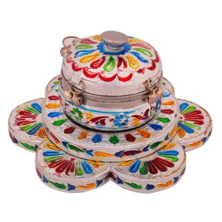 Meenakari Sindoor Box n Tray in White Metal