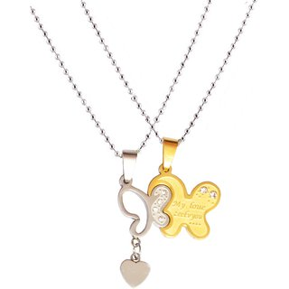 Men Style New Love Couple His and Hers Necklace for Lovers Four Leaf Clover  Gol