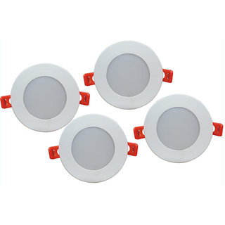 Bene LED 6w Round Ceiling Light, Color of LED Red (Pack of 4 Pcs)