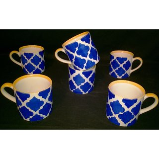 Cups Set of 6 - Blue Pottery