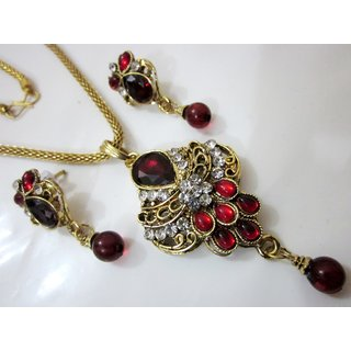 Kundan With Stone Pendent And Earrings Jewellery Set With One Gram Gold Chain