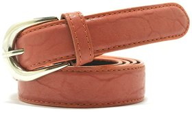 Wholesome Deal womens orange colour non Leatherite pin buckle belt with 1 inches