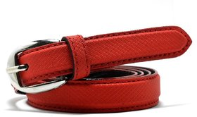 Wholesome Deal womens red colour non Leatherite pin buckle belt with 1 inches