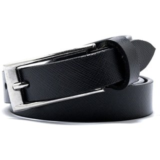 Wholesome Deal womens black colour Leatherite pin buckle belt with 1 inches