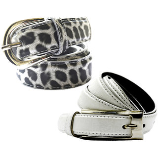 Wholesome Deal womens white and black doted colour non Leatherite pin buckle belt with 1 inches (Pack of Two)