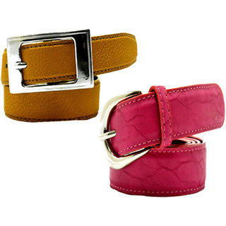 Wholesome Deal womens yellow and pink colour non Leatherite pin buckle belt with 1 inches (Pack of Two)