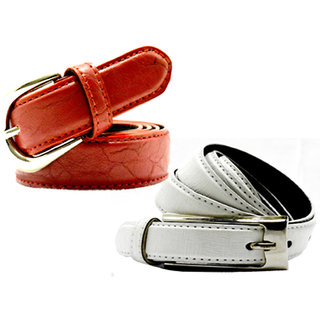 Wholesome Deal womens white and red colour non Leatherite pin buckle belt with 1 inches (Pack of Two)