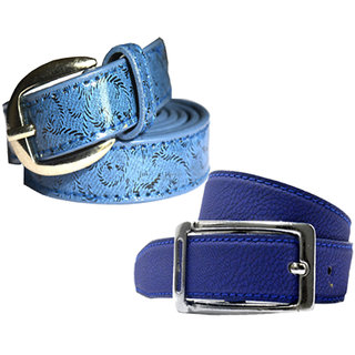 Wholesome Deal womens blue and royal blue colour non Leatherite pin buckle belt with 1 inches (Pack of Two)