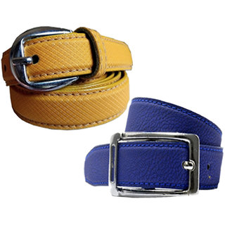 Wholesome Deal womens yellow and royal blue colour non Leatherite pin buckle belt with 1 inches (Pack of Two)