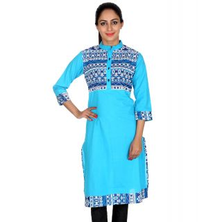 Kurti Womens Clothing Cotton Geometric Turquoise Ethnic Wear At Rajrang