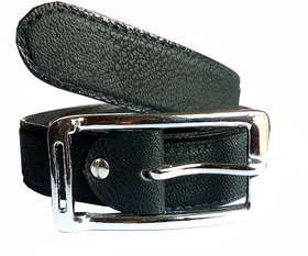 Wholesome Deal womens black colour non Leatherite pin buckle belt with 1 inches