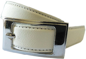 Wholesome Deal womens white colour non Leatherite pin buckle belt with 1 inches
