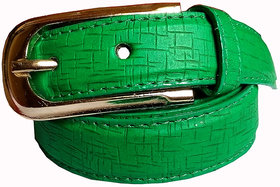 Wholesome Deal womens green colour non Leatherite pin buckle belt with 1 inches