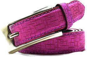 Wholesome Deal womens pink colour non Leatherite pin buckle belt with 1 inches