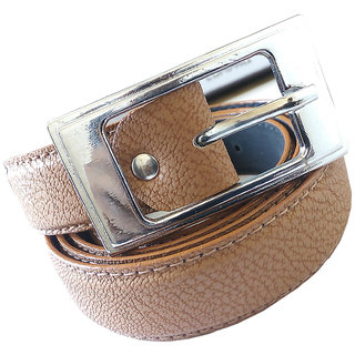 Wholesome Deal womens cream colour non Leatherite pin buckle belt with 1 inches