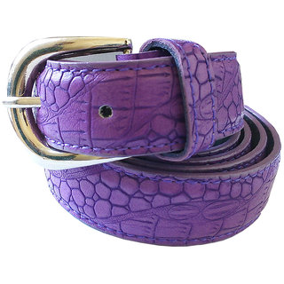 Wholesome Deal womens purple colour non Leatherite pin buckle belt with 1 inches