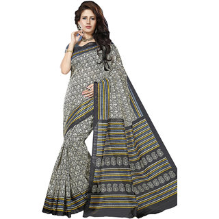 Connect Shop Black Linen Printed Saree With Blouse