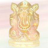 """6"""" Rose Quartz Hand Carved And Painted Lord Ganesha Idol"""