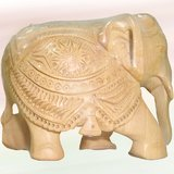 """5"""" Wooden Hand Carved Decorative Elephant"""