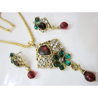 Superb One Gram Gold Stone With Kundan Jewellery Set With Beautiful Earrings