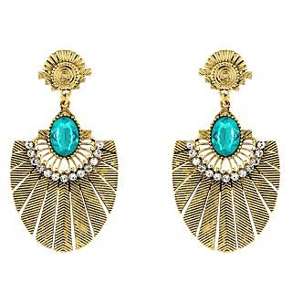 Donna Fashion Blue Oval Gold Plated Dangler Earrings with Crystals for Women ER30079G