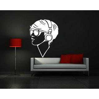 Decor Kafe Men Listens Music Wall Sticker (12x15 Inch)