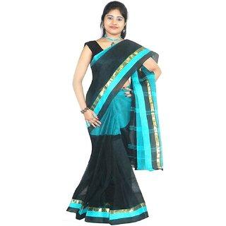 8ed8578477 Rudrakshhh Womens Embriodered Handloom Jamdani Blue Black Colour Cotton Sari