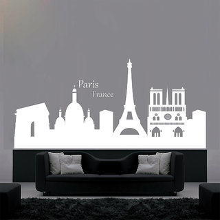 Decor Kafe City Of Paris Wall Sticker (22x20 Inch)