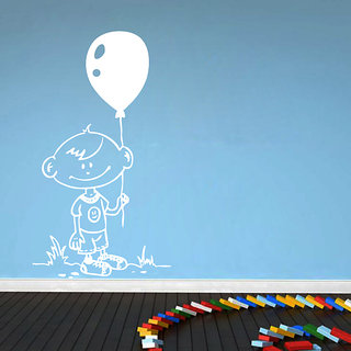 Decor Kafe Child With Balloon Wall Sticker (11x19 Inch)