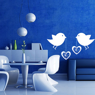 Decor Kafe Love Birds Wall Sticker (23x12 Inch)