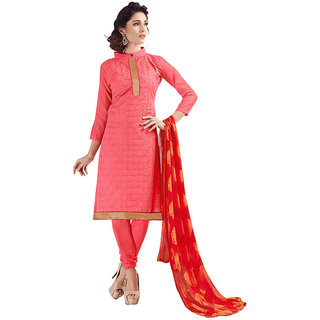 Varanga Red Cotton Embroidered Salwar Suit Dress Material (Unstitched)