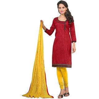 Varanga Red Bhagalpuri Silk Embroidered Salwar Suit Dress Material (Unstitched)