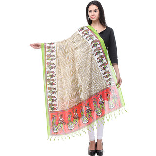 Varanga Printed Bhagalpuri Silk Beige  Green Dupatta 2.25 Mtr. KF-BG273