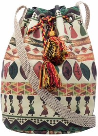 The House of Tara Women Multicolor Canvas Polyester Sling Bag HTB 02