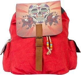 The House of Tara Canvas Medium Backpack (Coral Red, Size - 355.6) HTBP 026