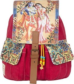The House of Tara Printed Canvas 041 20 L Medium Backpack (Multicolor, Size - 350) HTBP 041