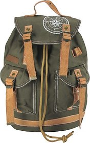 The House of Tara Wax Coated Cotton Canvas 27 L Backpack (Olive Green) HTBP 093