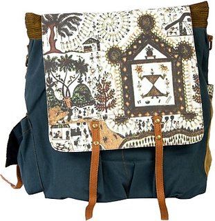 The House of Tara Canvas Medium Backpack (Green, Size - 381) HTBP 030